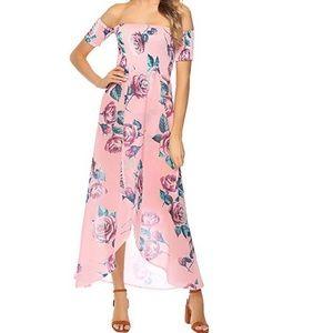 Coventavenue - Off Shoulder Floral Split Dress